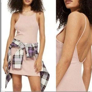 TOPSHOP Low Cut Pink Ribbed Spaghetti Casual Dress